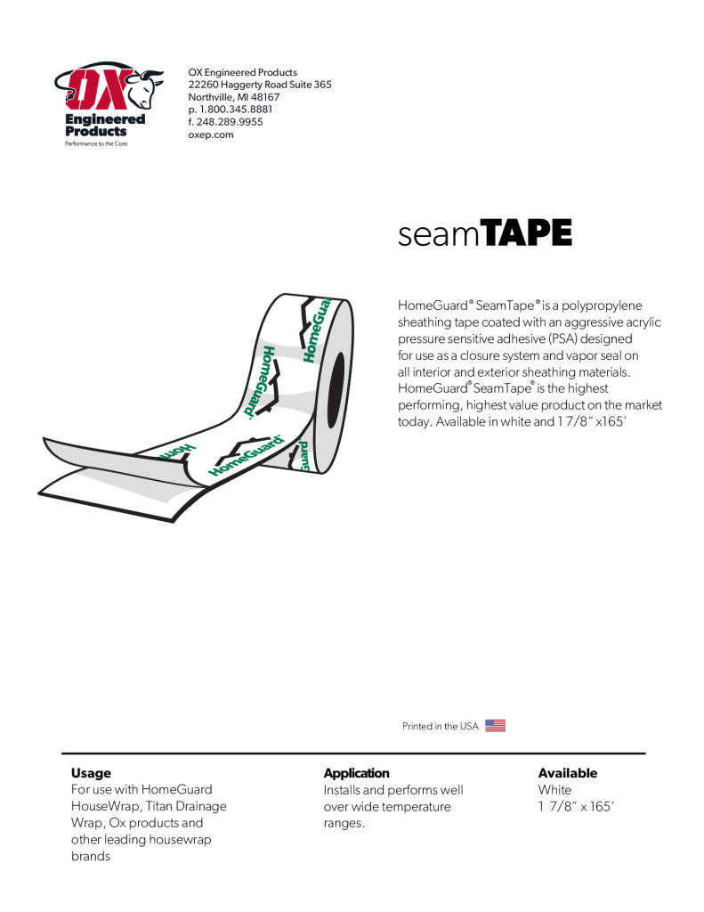 thumbnail of HomeGuard Seam Tape Brochure