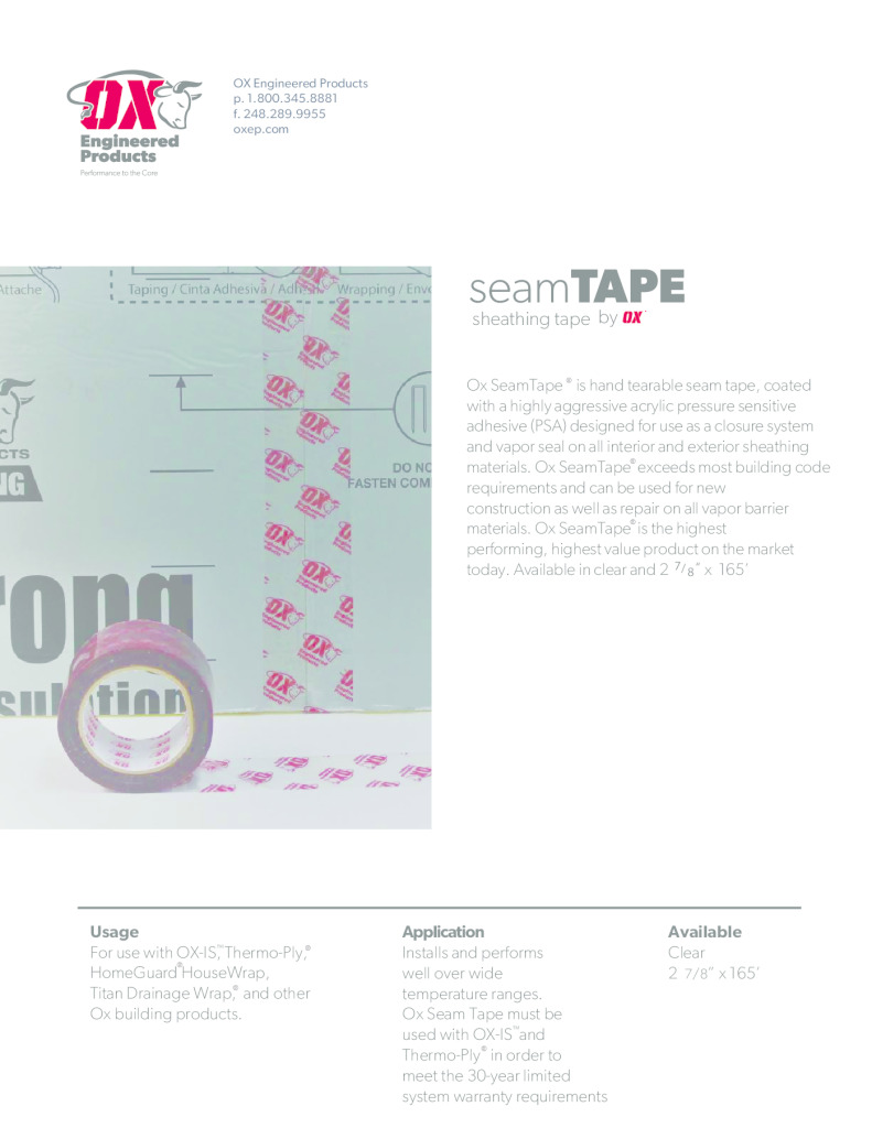 thumbnail of Ox Seam Tape Brochure