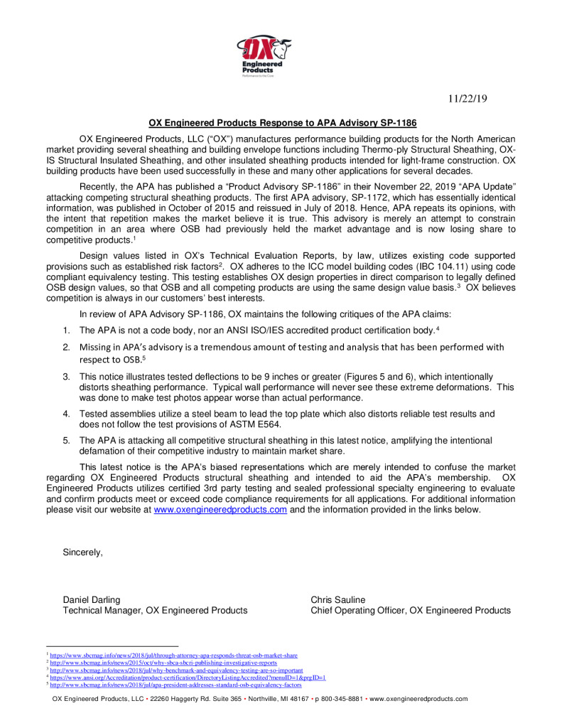 thumbnail of Final OX_Response to APA Advisory SP-1186