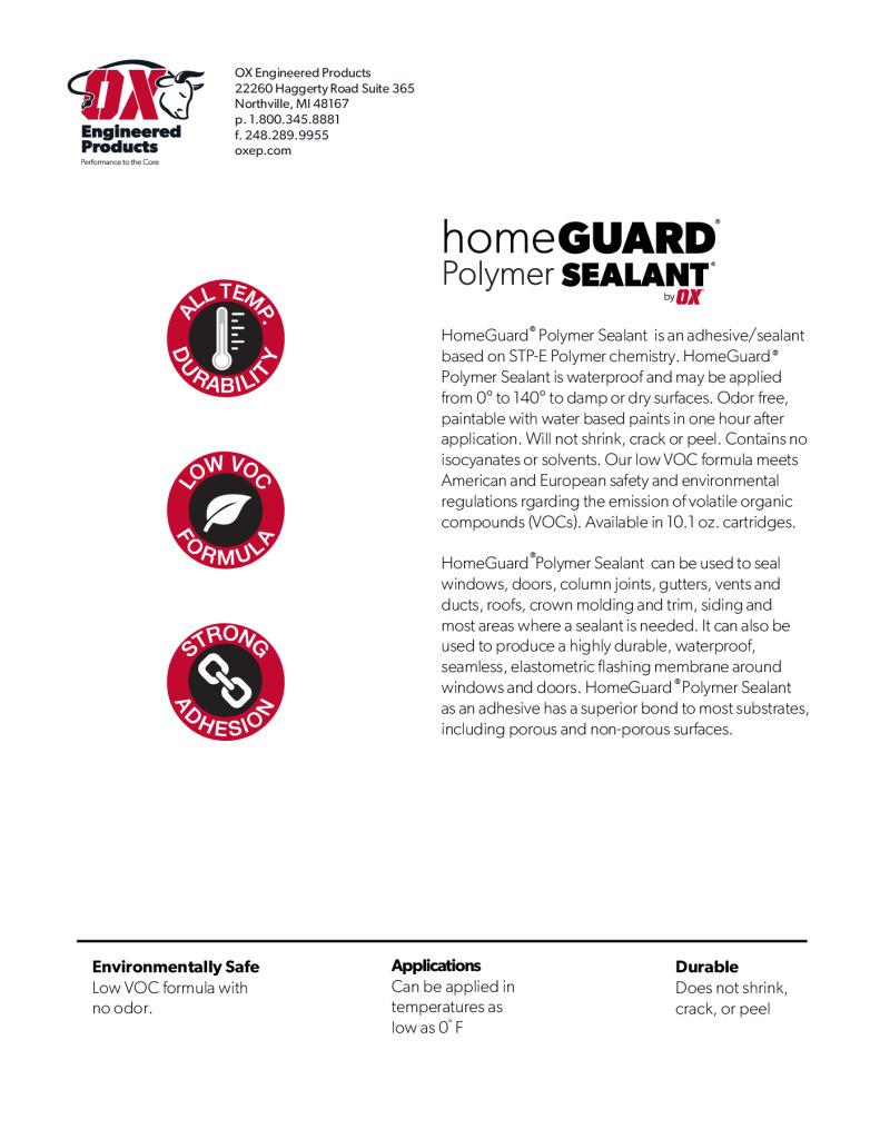 thumbnail of HomeGuard Polymer Sealant brochure