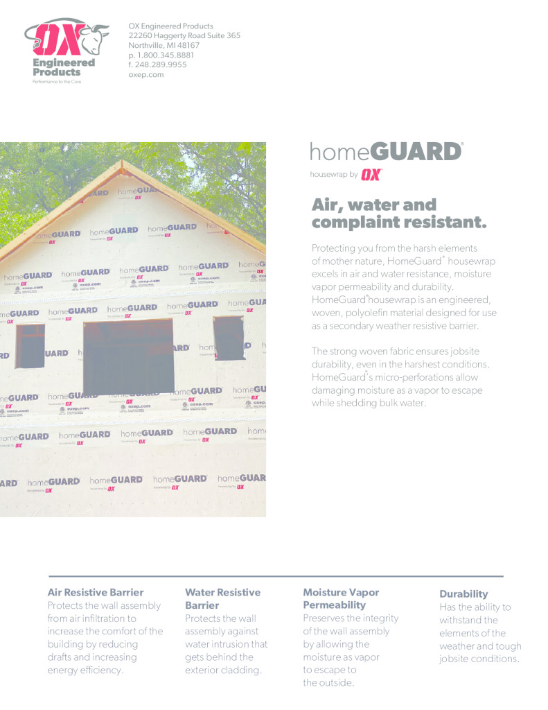 thumbnail of HomeGuard Housewrap brochure