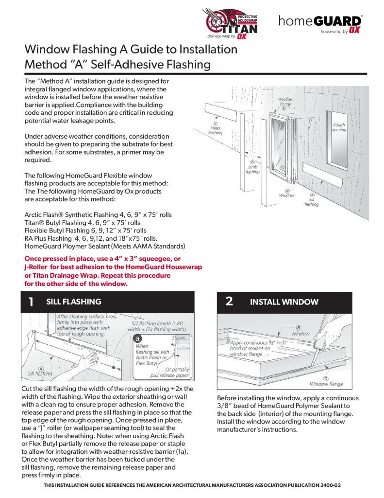 thumbnail of HomeGuard Housewrap or Titan Install Method A